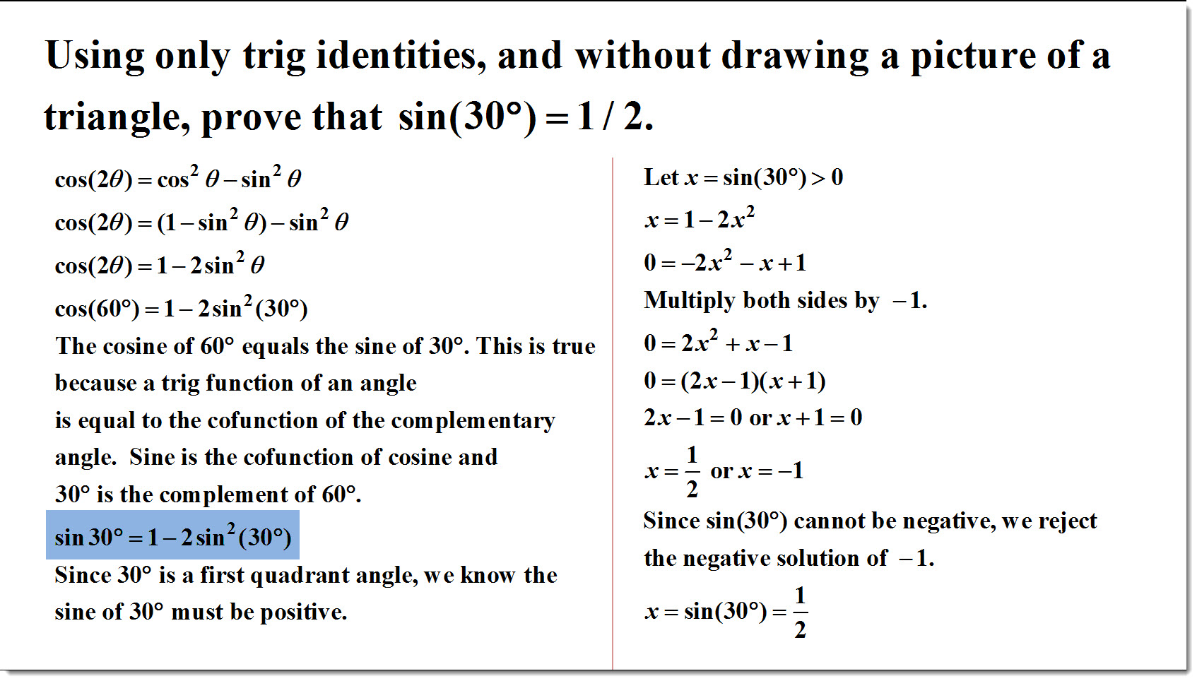 Using Only Trig Identities, and Without Drawing a Picture of a ...