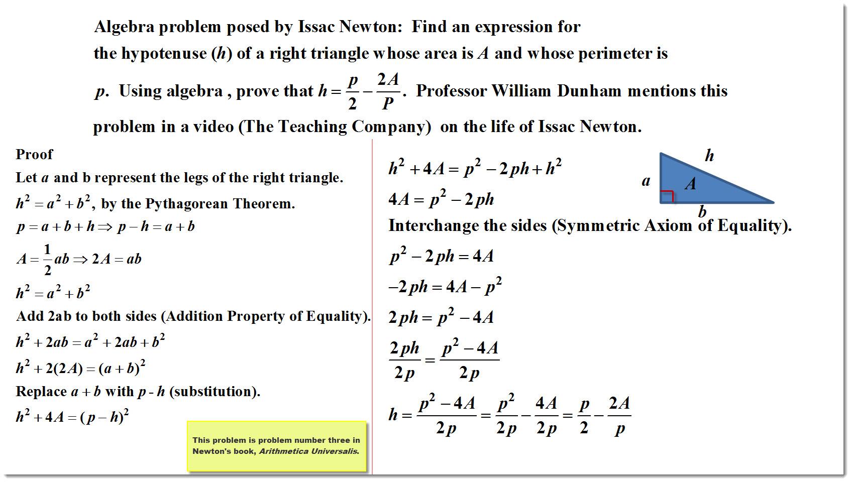 Algebra Problem from Issac New...